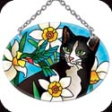 Suncatcher-SO169R-Daffodils & Cat - Daffodils & Cat
