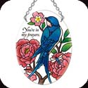 Suncatcher-SO243R-Swallow with Peonies/You're in my prayers - Swallow with Peonies/You're in my prayers