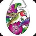 "Suncatcher-SO299R-Hummingbird & Petunias - ""Trust in Him."" - Hummingbird & Petunias - ""Trust in Him."""
