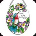 "Suncatcher-SO301R-Hummingbirds & Bee - ""Great is thy faithfulness."" Lam. 3:23 - Hummingbirds & Bee - ""Great is thy faithfulness."" Lam. 3:23"