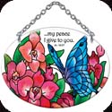 "Suncatcher-SO302R-Butterfly & Orchids - ""?my peace I give to you."" Jn 14:27 - Butterfly & Orchids - ""?my peace I give to you."" Jn 14:27"