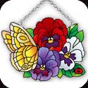 Suncatcher-SSB1006R-Butterfly & Pansies - Butterfly & Pansies