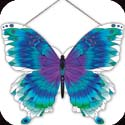 Suncatcher-SSP1008R-White & Turquoise Butterfly - White & Turquoise Butterfly