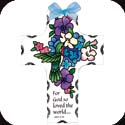 Suncatcher-SX2009R-Indigo Hydrangea with Hummingbirds/For God so loved... - Indigo Hydrangea with Hummingbirds/For God so loved the world... John 3:16.