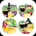 Coaster Set-TCS005-Wine & Cheese - Wine & Cheese