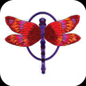 Garden Plaque-TPF1015-Red/Purple Dragonfly - Red/Purple Dragonfly