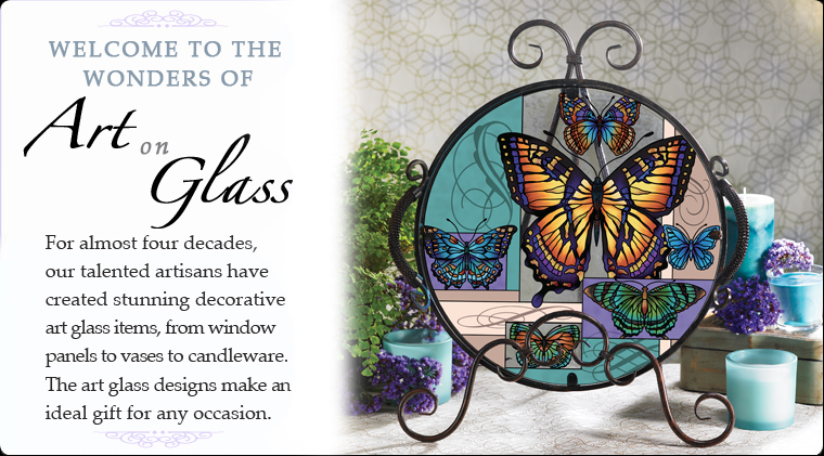 Welcome to the wonders of art on glass. These art glass designs make an ideal gift.